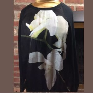 ALTUZARRA Black Georgette Floral Print Sweatshirt